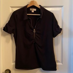 Michael Kors Polo Top Zip Front Ruched sz XL